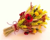 FALL Wedding Bouquet-Dried Flower Bridal Bouquet-Rustic Wedding Bouquet with Wheat and Billy Balls-FALL WHEAT Collection