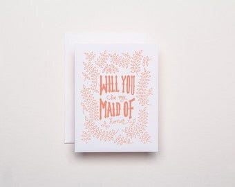 Will you be my Maid of Honor Ivy - Letterpress Wedding Card