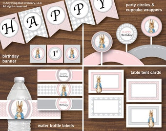 DIY Peter Rabbit Printable Party Package, Pink and Gray Peter Rabbit Pack, INSTANT DOWNLOAD, printable digital file