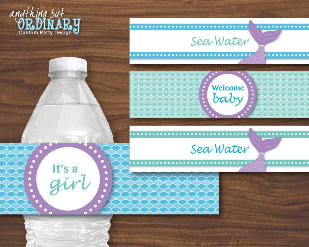 mermaid water bottle labels diy mermaid baby shower labels instant download digital printable zoom