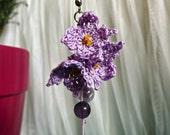 Crochet Lace Lilac Cluster Earrings