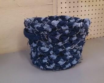 Handmade Recycled Denim Basket
