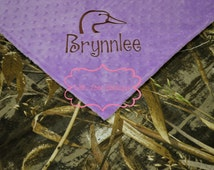 Baby Girl Blanket, Real Tree Camo and Lavender Minky, Personalized Minky Blanket