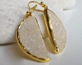 White Druzy Bridal Earrings- Unique Druzy Earrings- Dangle Statement Earring- Classic Evening Earring- Half Moon Earring- Gold Drop Earring