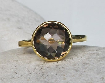 Round Smoky Quartz Ring- Rose Gold Ring- Faceted Smoky Topaz Ring- Brown Stackable Gemstone Ring- Simple Sterling Silver Ring- Brown Ring