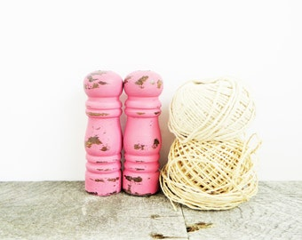 Tiny Salt and Pepper Shakers - Pretty Pink - Shabby Chic - Girly Kitchen Decor