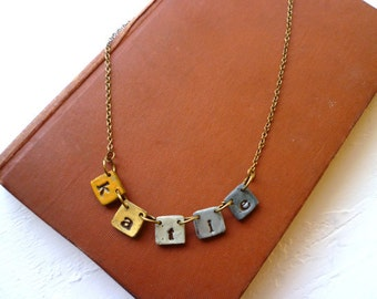 Girl Name Necklace, Bunting style jewelry, Girl Birthday Gift, Personalized jewelry, 10 years old girl present, Letter Necklace