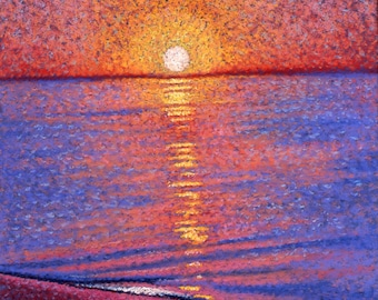Sunset Fine Art Print, Giclee Print, Coastal Sunset, Pastel Painting By Jan Maitland, Pacific Ocean, Seascape, Orange, Blue, Gold, 8x10