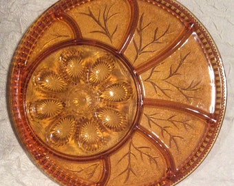 Vintage Amber Indiana Glass Relish Snack Tray & Deviled Egg Serving Platter