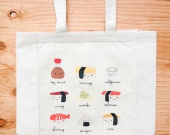 Sushi Canvas Tote Bag Cute Kawaii Illustration Bag