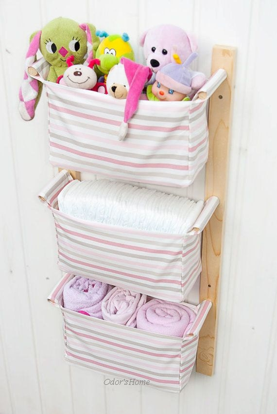 Free shipping hanging nursery storage with 3 fabric by for Nursery hanging storage