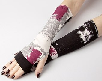 Black & Purple Fingerless gloves - Abstract Street Fashion mittens Tribal Style Orient Belly Dance Fusion Urban Psychedelic White Emo Goth