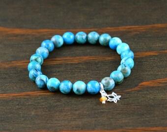 Women's Beaded Bracelet. Agate Bracelet. Lotus Flower Bracelet. Crazy Lace Agate Bracelet. Women's Agate Bracelet. Lotus & Lava Bracelet.