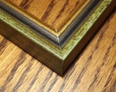 One 3 1/2 x 2 1/2 Ready 2 Ship Picture Frame ~ Green / Black / Gold  ~ ACEO  ~ 1/2 inch wide and 9/16 inch tall with a 5/16 inch rabbet