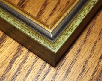 One 3 1/2 x 2 1/2 Made to Order Picture Frame ~ Green / Black / Gold  ~ ACEO  ~ 1/2 inch wide and 9/16 inch tall with a 5/16 inch rabbet