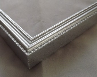 16 x 20 ~ Made to Order Picture Frame ~ Ornate Design ~  Metallic Sterling Silver ~ 1/2 inch wide x 3/4 inch tall x 1/2 inch deep
