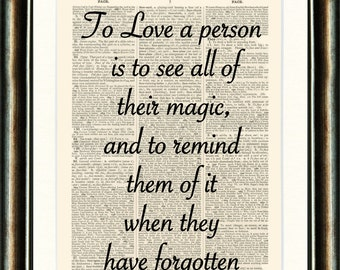 Love Quote 2 - Valentines - vintage book page print image on a page from an Upcycled late 1800s Dictionary Buy 3 get 1 Free.