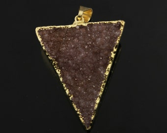 Dazzling Druzy Triangle Pendant in Stunning Earth Tones, Heavy Gold Plated, 29x33mm, A+ Gorgeous Quality, Electroplated Edge (DZY/TRI/134)