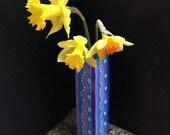 Hand painted rectangulat blue glass vase, blue vase, small vase, wavy design vase,Blue Purple Lavender Pink design vase,office desk vase,