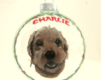 Labradoodle, Custom Pet Portrait, Personalized Dog Painting, Holiday Ornament, Handpainted Pet, Dog Memorial