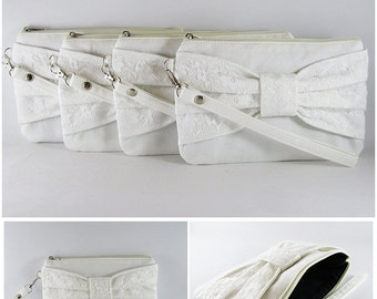 SUPER SALE - Set of 3 Ivory Lace Bow Clutches - Bridal Clutches, Bridesmaid Clutches, Bridesmaid Wristlet, Wedding Gift - Made To Order