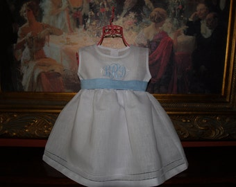 Momogrammed Baby and Toddler Girl White Linen Baptismal or Easter Dress with Hemstitching