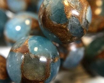 THEY ARE BACK! 10mm golden aqua quartz,Aqua Aura, blue and gold beads, blue beads, round bead 15.5 inch strand, 37-39 beads included