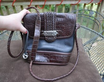 Brighton Vintage Black and Brown Leather Shoulder Bag