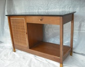Paul McCobb style cane front library table - hall stand