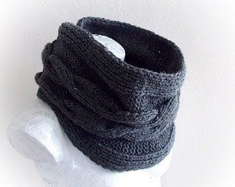 Charcoal gray cowl neck scarf