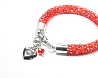 Beaded Bracelet. Toho Seed Beads Bracelet. Bead Crochet Bracelet. Fashionable Bracelet. Oriental Bracelet. Handmade Jewerly. Red Bracelet.