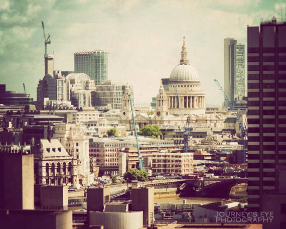 London skyline photograph, travel photography, England picture, London wall art, cityscape - St. Paul's Cathedral