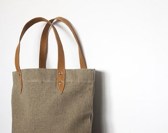 100% eco linen bag with brown leather handles