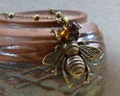 Bee Boho Chic Necklace Antique Bronze 3D Large Fashion Jewelry Bohemian Huge Honey Bumblebee Honeybee Insect PaisleyBeading FREE Shipping