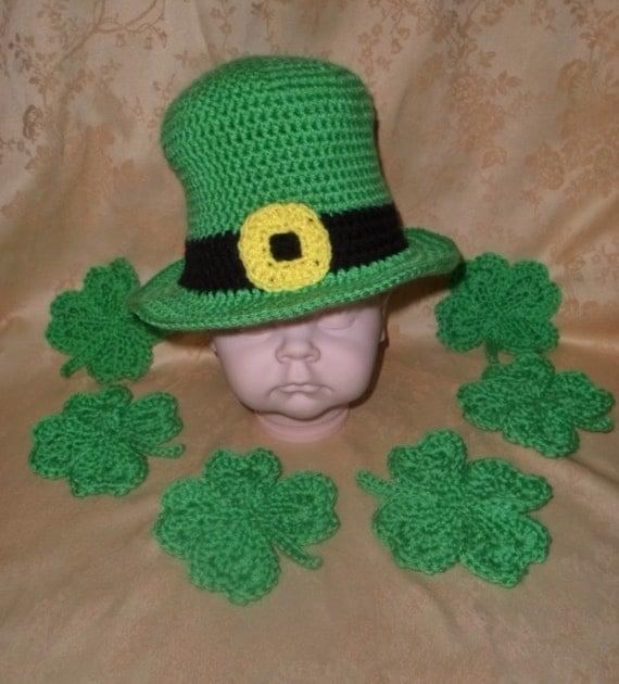 Crochet Baby Leprechaun Hat Pattern : Crochet Infant-Adult Leprechaun Hat and Shamrocks St.