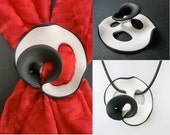 White black scarf brooch or pendant/ 2 sides two colors wavy polymer clay/ 4 apertures/ many possibilities for scarf or chain