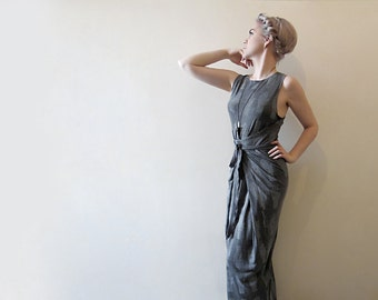 Hand Printed Jersey Wrap Dress - 'Tarot' print - Charcoal