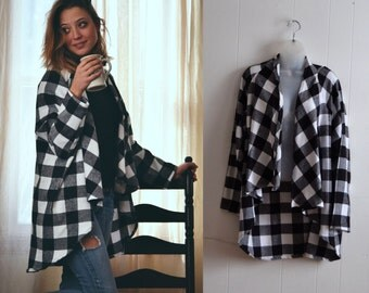 Flannel Cardigan Jacket, Flannel Shirt, Flannel Robe, Camping coat, Maxi Jacket, Maxi Sweater, Nursing Top, Mothers Day Gift, Winter Sweater