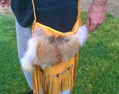 Fringed Leather Red Fox Fur Crossbody Purse, hand cut fringe,handbeaded turquoise,agate,and carnelian gemstones,pirate rivets at straps
