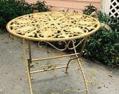 ENCHANTING GARDEN TABLE Cast Iron Folding Table Vintage Garden Table Garden Decor Outdoor Furniture Hollywood Regency at Ageless Alchemy
