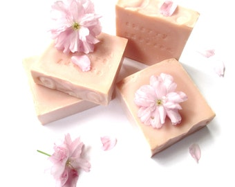 Cherry Blossom Handmade Natural Soap with French Pink Clay