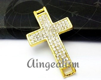 Large Rhinestone Cross Connector, Buckle Cross Pendant Gold Plated 43x26mm