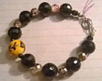 Glass mirror bead bracelet