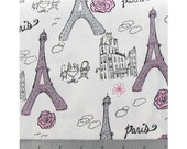 1 yard of glitter eiffel tower Paris fabric