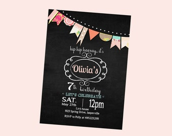 ADORABLE Chalkboard birthday invitation