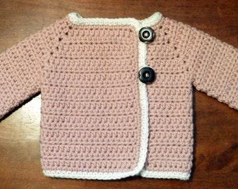 Crocheted Baby Girl's Sweater  Pink Baby Girl's Sweater Crocheted Baby Sweater