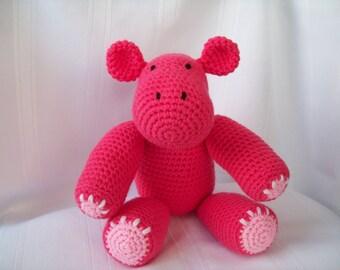 Hippo // Crochet Hippo // Crochet Pink Hippo // Stuffed Animal // Amigurumi Hippo