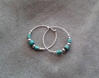 Sterling Silver and Turquoise Hoop Earrings