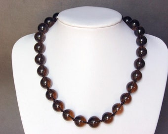 Necklace Smokey Quartz Large 14mm Round Beads NSSQ0830