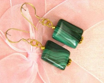 Earrings Malachite 16mm Pillow 14K ESMA1818